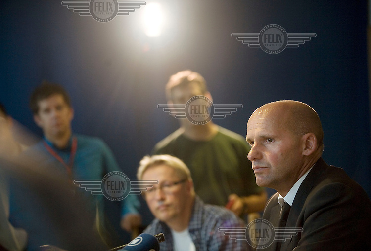 Geir Lippestad, public defender of Anders Behring Breivik speaks at a press conference on the day that Breivik made his first court appearance following his arrest for two terrorist attacks on 22nd July 2011. A large vehicle bomb was detonated near the offices of Norwegian Prime Minister Jens Stoltenberg resulting in several injuries and deaths and a mass shooting attack claimed dozens of lives on Otoeya Island about 40 Kilometres from Oslo. Breivik confessed to carrying out both atrocities.