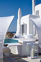 The exterior of the white-washed Villa Orpheus with a private swimming pool located on the Greek island of Mykonos.