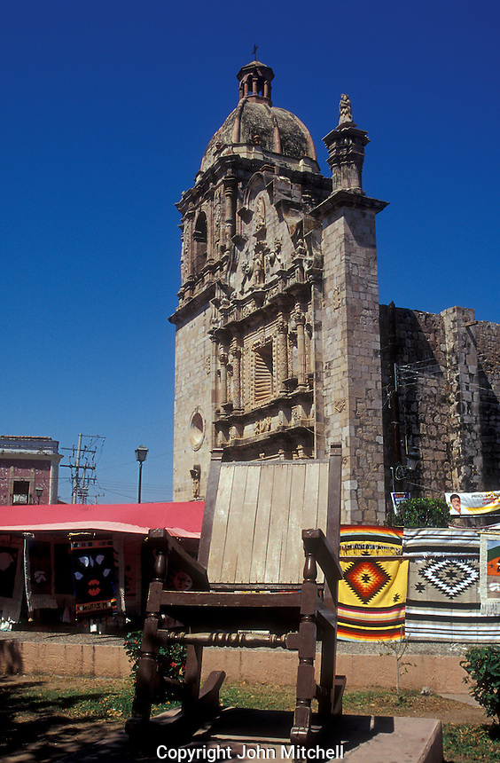 Giant rocking chair in front of the 18th-century Church of San Sebastian in the Spanish colonial mining town of Concordia near Mazatlan, Sinaloa, Mexico.