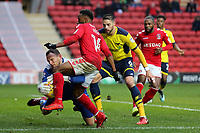 Oxford United goalkeeper, Simon Eastwood, makes a brave save to deny Tariqe Fosu of Charlton Athletic during Charlton Athletic vs Oxford United, Sky Bet EFL League 1 Football at The Valley on 3rd February 2018