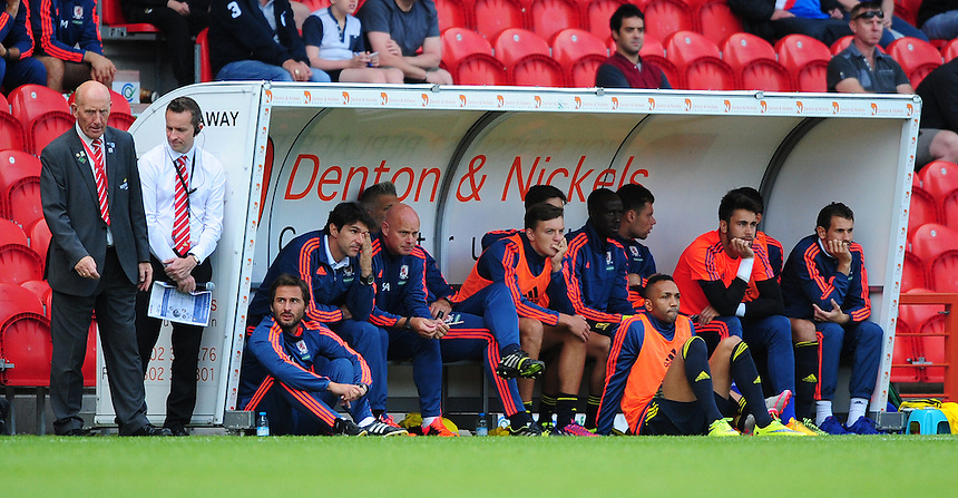 Middlesbrough manager Aitor Karanka, fourth in from left, and Middlesbrough&rsquo;s assistant head coach Steve Agnew, fifth in from left, watch the game from the dug out<br /> <br /> Photographer Chris Vaughan/CameraSport<br /> <br /> Football - Pre-Season Friendly - Doncaster Rovers v Middlesbrough - Saturday 25th July 2015 - Keepmoat Stadium, Doncaster<br /> <br /> &copy; CameraSport - 43 Linden Ave. Countesthorpe. Leicester. England. LE8 5PG - Tel: +44 (0) 116 277 4147 - admin@camerasport.com - www.camerasport.com