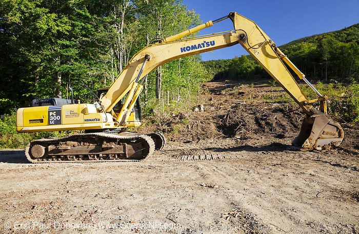 Heavy equipment near the start of the Mittersill - Cannon Trail in Franconia, New Hampshire USA during the summer months. The work being done is part of the Mittersill Terrain Area Enhancement Project.