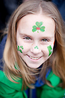 17/3/2011. ST PATRICKS DAY DUBLIN. 6 yr old Ciara Byrne is pictured on College Green enjoying the Dublin St Patricks Day Parade. Picture James Horan/Collins Photos