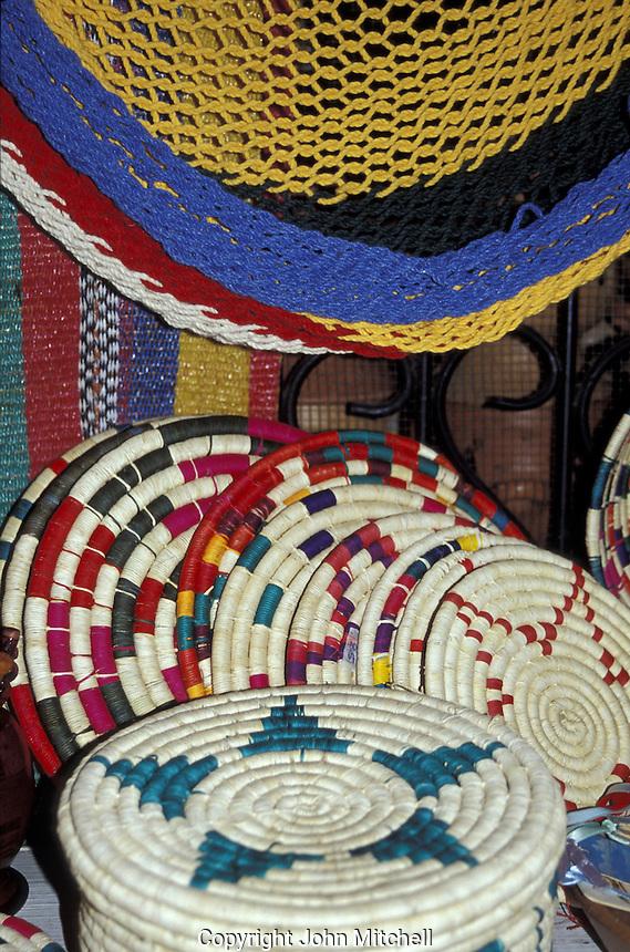 Honduarn straw handicrafts and hammocks in the Guamilito Market, San Pedro Sula, Honduras