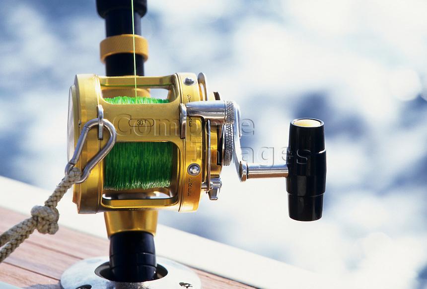 Close up of a deep sea fishing reel