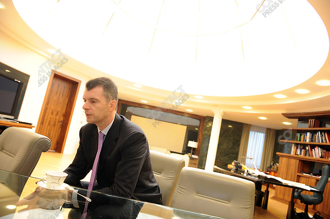 Mikhail Prokhorov in his office during an interview with the New York Times the day after he announced his resignation from the Right Cause political party. Moscow, Russia, September 16, 2011