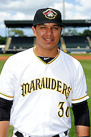 Bradenton Marauders first baseman Jose Osuna #36 poses for a photo before a game against the Fort Myers Miracle at McKechnie Field on April 7, 2013 in Bradenton, Florida.  Fort Myers defeated Bradenton 9-8 in ten innings.  (Mike Janes/Four Seam Images)