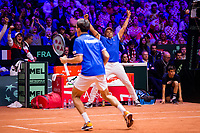 Le joueurs de tennis Nicolas Mahut  & Pierre-Hugues Herbert opposés aux joueurs Croates Mate Pavic & Ivan Dodig lors de la  Finale du double de la Coupe Davis France vs Croatie, au Stade Pierre Mauroy à Villeneuve d'Ascq .<br /> France, Villeneuve d'Ascq , 24 novembre 2018.<br /> French tennis players Nicolas Mahut  & Pierre-Hugues Herbert vs Croatian tennis players Mate Pavic & Ivan Dodig, during the final of the Davis Cup, at the Pierre Mauroy stadium in Villeneuve d'Ascq .<br /> France, Villeneuve d'Ascq , 24 November 2018<br /> Pic : Yannick Noah