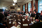 United States President Barack Obama meets with Combatant Commanders and Joint Chiefs of Staff with Vice President Joe Biden and US National Security Advisor Susan Rice  in the Cabinet Room of the White House, in Washington, DC, April 5, 2016. <br /> Credit: Aude Guerrucci / Pool via CNP