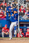 6 March 2019: Toronto Blue Jays infielder Santiago Espinal at bat during a Spring Training game against the Philadelphia Phillies at Dunedin Stadium in Dunedin, Florida. The Blue Jays defeated the Phillies 9-7 in Grapefruit League play. Mandatory Credit: Ed Wolfstein Photo *** RAW (NEF) Image File Available ***