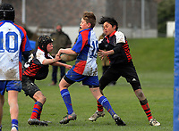 Action from the under-13 rugby match between Horowhenua-Kapiti and Central Hawkes Bay at Otaki Domain in Otaki, New Zealand on Sunday, 6 August 2017. Photo: Dave Lintott / lintottphoto.co.nz
