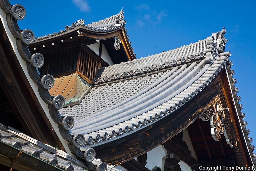 Kyoto City, Arashiyama District, Japan<br /> Arahaiyama Tenryuji temple, Main Hall roofline detail