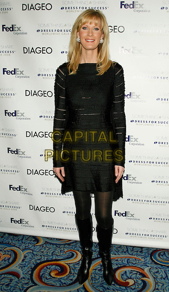 SANDRA LEE .Something To Share: Dress for Success Worldwide Gala 2008.at The Marriott Marquis, New York, NY, USA, April 9, 2008..full length black dress boots .CAP/LNC/TOM.©LNC/Capital Pictures