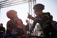 Sven Nys (BEL/Crelan-AAdrinks) showing Wout Van Aert (BEL/Vastgoedservice-Golden Palace) which way is up before the race<br /> <br /> Elite Men's race<br /> bpost bank trofee<br /> GP Mario De Clercq Ronse 2015