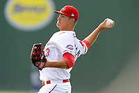 Pitcher Jamie Callahan (23) of the Greenville Drive warms up before a game against the Lexington Legends on Wednesday, June 4, 2014, at Fluor Field at the West End in Greenville, South Carolina. Callahan, from Hamer, S.C., was a 2nd Round pick of the Boston Red Sox in the 2012 First-Year Player Draft. Callahan is Boston's No. 22 prospect, according to Baseball America. Lexington won, 9-3. (Tom Priddy/Four Seam Images)