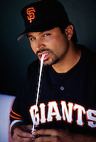 Mark Carreon of the San Francisco Giants at Scottsdale Stadium in Scottsdale, Arizona during 1996 Spring Training. (Larry Goren/Four Seam Images)
