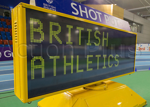 28.02.2016. EIS Sheffield, Sheffield, England. British Indoor Athletics Championships Day Two. General view of the electronic display on the Indoor Athletics Track, English Institute of Sport.