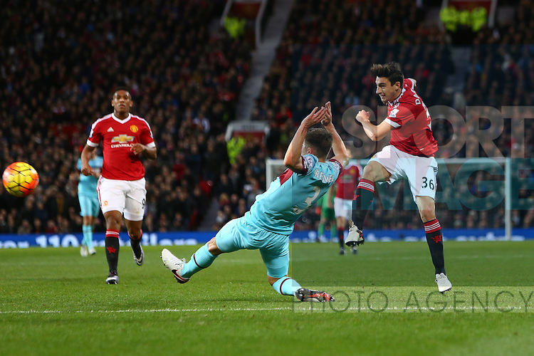 Matteo Darmian of Manchester United strikes at goal - Manchester United vs West Ham United - Barclay's Premier League - Old Trafford - Manchester - 05/12/2015 Pic Philip Oldham/SportImage
