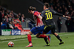Atletico de Madrid's Filipe Luis and Juventus' Paulo Dybala during UEFA Champions League match, Round of 16, 1st leg between Atletico de Madrid and Juventus at Wanda Metropolitano Stadium in Madrid, Spain. February 20, 2019. (ALTERPHOTOS/A. Perez Meca)