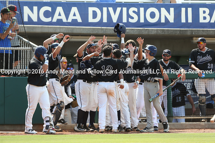 04 June 2016: Nova Southeastern's Kevin Suarez (13) is mobbed by teammates in the dugout after hitting a home run. The Nova Southeastern University Sharks played the Millersville University Marauders in Game 14 of the 2016 NCAA Division II College World Series  at Coleman Field at the USA Baseball National Training Complex in Cary, North Carolina. Nova Southeastern won the game 8-6 and clinched the NCAA Division II Baseball Championship.