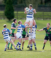 Saturday 27th April 2013 - Michael Dunleavy takes this lineout ball during the final Ulster Bank League clash against Ballynahinch at Stevenson Park. Photo Credit : John Dickson / DICKSONDIGITAL