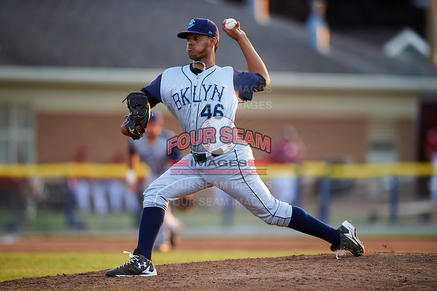 Brooklyn Cyclones relief pitcher Joel Huertas (46) during a game against the Batavia Muckdogs on July 5, 2016 at Dwyer Stadium in Batavia, New York.  Brooklyn defeated Batavia 5-1.  (Mike Janes/Four Seam Images)