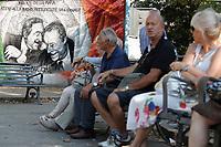 Roma 19/07/2017. Inaugurazione del murale di Gojo per commemorare il 25th anniversario degli attentati dei giudici Falcone e Borsellino, impegnati contro la Mafia. Il mural &egrave; stato tratto da una foto storica di due magistrati, di Tony Gentile.<br /> Rome July 19th 2017. Inauguration of the wall painting by the street artist Gojo, to commemorate the 25th anniversary of the attempts to magistrates Giovanni Falcone e Paolo Borsellino, killed by the Mafia in 1992. The painting was copied by a famous photo of the photographer Tony Gentile.<br /> Foto Samantha Zucchi Insidefoto