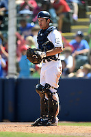 Huntsville Stars catcher Adam Weisenburger (2) during a game against the Mobile BayBears on April 23, 2014 at Joe Davis Stadium in Huntsville, Tennessee.  Huntsville defeated Mobile 4-1.  (Mike Janes/Four Seam Images)