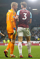 Leicester City's Kasper Schmeichel has words with Burnley's Charlie Taylor<br /> <br /> Photographer Rich Linley/CameraSport<br /> <br /> The Premier League - Burnley v Leicester City - Saturday 16th March 2019 - Turf Moor - Burnley<br /> <br /> World Copyright © 2019 CameraSport. All rights reserved. 43 Linden Ave. Countesthorpe. Leicester. England. LE8 5PG - Tel: +44 (0) 116 277 4147 - admin@camerasport.com - www.camerasport.com