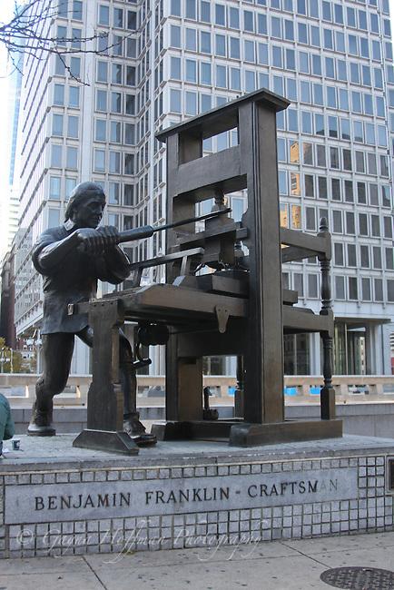 Statue of Benjamin Franklin with printing press. Philadelphia, PA