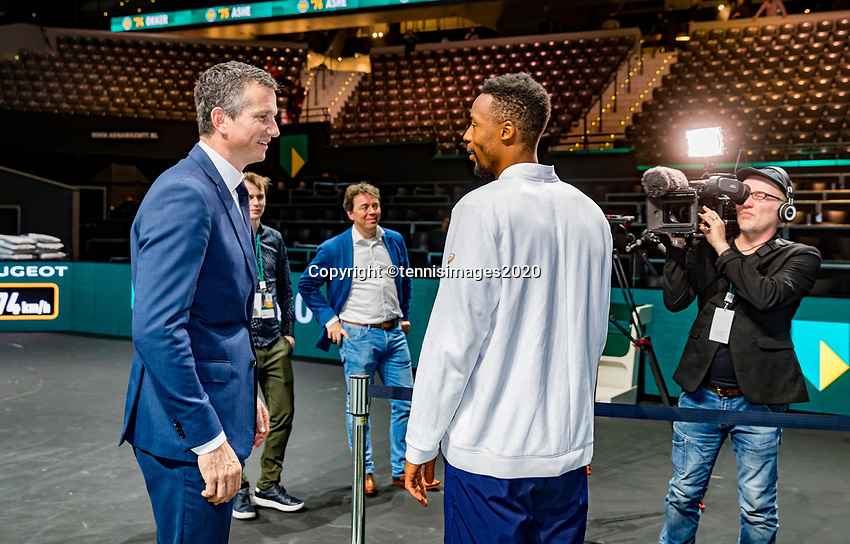 Rotterdam, The Netherlands, 16 Februari 2020, ABNAMRO World Tennis Tournament, Ahoy, Tournament winner Gaël Monfils (FRA) talks to tournament director Richard Krajicek<br /> Photo: www.tennisimages.com