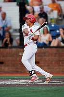 Johnson City Cardinals second baseman Donivan Williams (3) follows through on a swing during a game against the Danville Braves on July 28, 2018 at TVA Credit Union Ballpark in Johnson City, Tennessee.  Danville defeated Johnson City 7-4.  (Mike Janes/Four Seam Images)