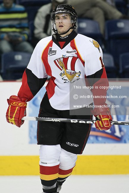QMJHL (LHJMQ) hockey profile photo on Baie-Comeau Drakkar Sacha Guimond October 8, 2011 at the Colisee Pepsi in Quebec city.
