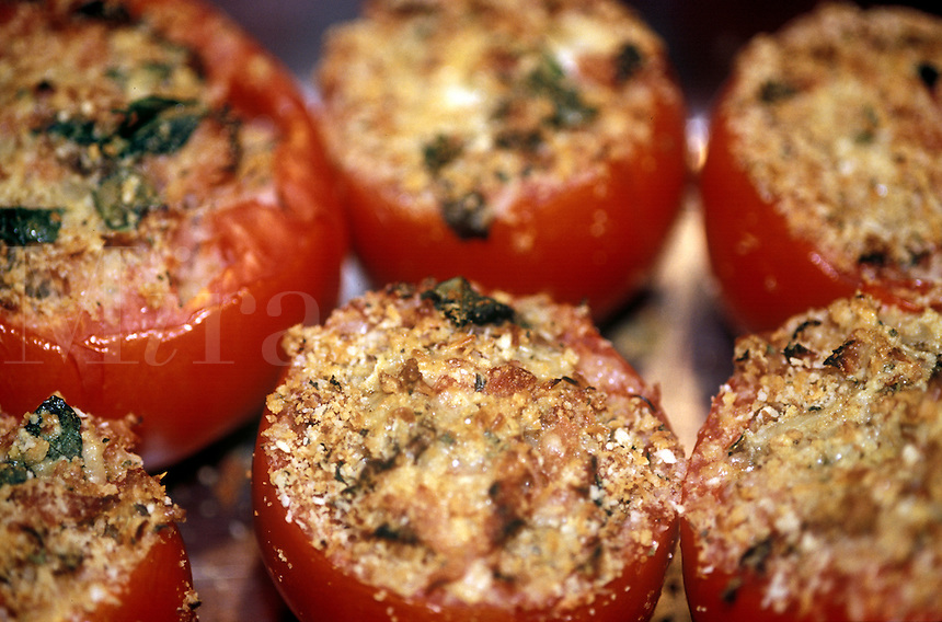 Tomatoes roasted and stuffed.