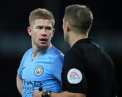 6th February 2019, Goodison Park, Liverpool, England; EPL Premier League Football, Everton versus Manchester City; Kevin de Bruyne of Manchester City speaks with referee Craig Pawson