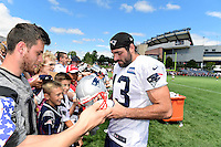 Wednesday, August 17, 2016: New England Patriots defensive back Nate Ebner (43) signs an autograph for a fan at a joint training camp session between the Chicago Bears and the New England Patriots held at Gillette Stadium in Foxborough Massachusetts. Eric Canha/CSM
