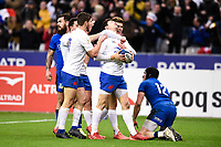 9th February 20020, Stade de France, Paris, France; 6-Nations international mens rugby union, France versus Italy;  The French team celebrate the try from Baptiste Serin (France )