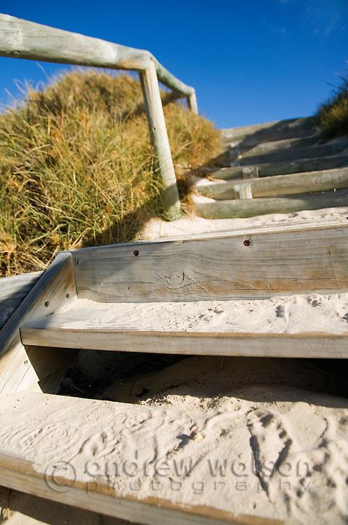 Stairs from the beach at Geordie Bay.  Rottnest Island, Western Australia, AUSTRALIA.