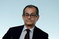 Roma, 24 Luglio 2018<br /> Giovanni Tria<br /> Conferenza stampa a Palazzo Chigi al termine del Consiglio dei Ministri, Decreto Mille Proroghe