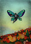 Illustrative image of man with wings flying above flowers representing business offers