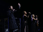 """Tony Vincent, Alyson Cambridge and Chloe Lowery during the Broadway Opening Night Performance Curtain Call of  """"Rocktopia"""" at The Broadway Theatre on March 27, 2018 in New York City."""