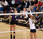 SIOUX FALLS, SD - OCTOBER 14: Jordan Calef #3 from the University of Sioux Falls winds up for a kill against Ashley Wilson #10 from Augustana in the second game of their match Tuesday night at the Elmen Center. (Photo by Dave Eggen/Inertia)