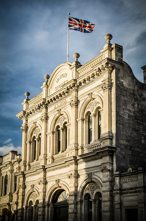 Facade of historic whitestone building, Oamaru, New Zealand - stock photo, canvas, fine art print