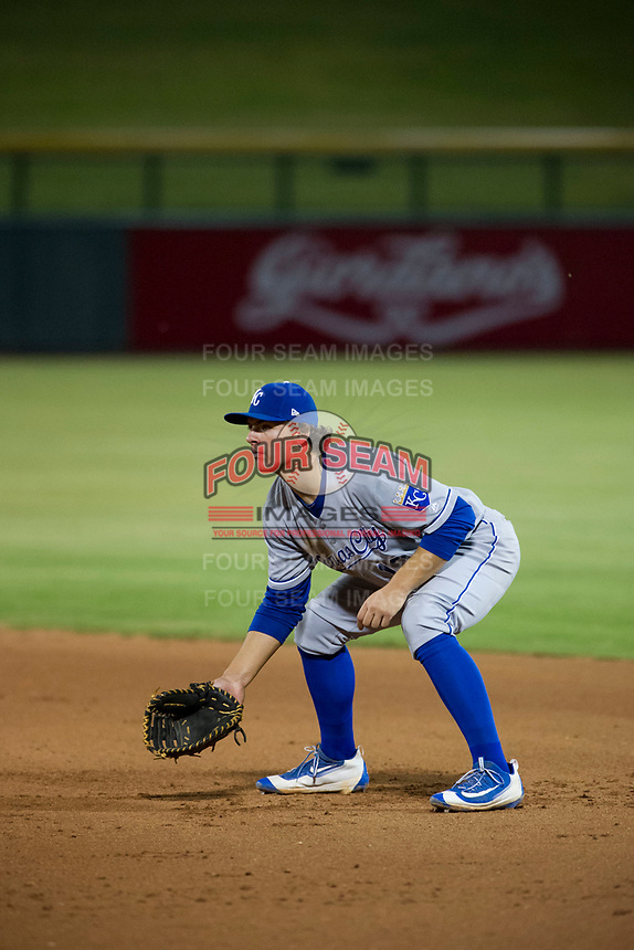 AZL Royals first baseman Nick Pratto (13) on defense against the AZL Cubs on July 19, 2017 at Sloan Park in Mesa, Arizona. AZL Cubs defeated the AZL Royals 5-4. (Zachary Lucy/Four Seam Images)
