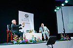Writers Week :Interviewer Niall McMonagle sharing a glass of wine with Graham Norton on stage at the Listowel Community centre on Saturday night last.