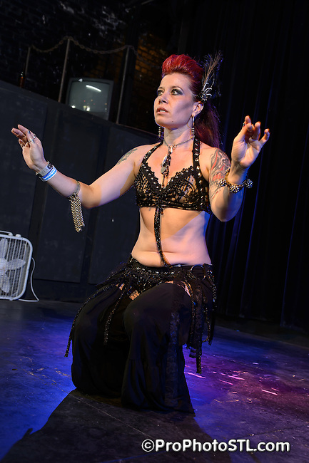 Exotic Rythms Bellydance with a special guest Zanjibal Zen performing during Rock U Festival at Fox Hole in St. Louis, MO on July 28, 2012.