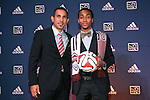16 January 2014: Marlon Hairston, with technical director Pablo Mastroeni (left), was selected with the twelfth overall pick by the Colorado Rapids. The 2014 Major League Soccer SuperDraft was held at the NSCAA Annual Convention in the Pennsylvania Convention Center in Philadelphia, Pennsylvania.