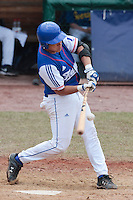 30 july 2010: Boris Marche of France breaks his bat as he makes contact during Sweden 3-2 win over France, in day 6 of the 2010 European Championship Seniors, at TV Cannstatt ballpark, in Stuttgart, Germany.