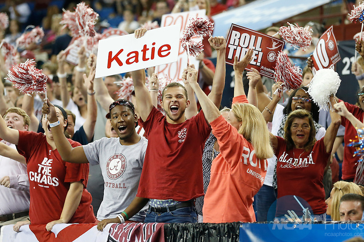 Apr 18, 2015; Fort Worth, TX, USA;  Fans from the University of Alabama cheer during the Division I Women's Gymnastics Championship held at the Fort Worth Convention Center Arena in Fort Worth, Texas. Tim Heitman/NCAA Photos