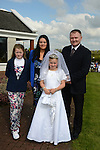 09/05/2015 - Mornington Communion – Lara Holmes with her mother Jennifer, Father Eric and sister Courtney. Picture: www.newsfile.ie